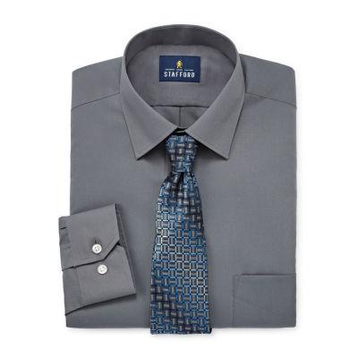 Stafford Travel Easy-Care Shirt + Tie Set