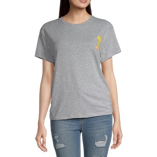 Warner Bros-Juniors Womens Crew Neck Short Sleeve Looney Tunes Graphic T-Shirt