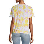 Juniors Womens Crew Neck Short Sleeve Spongebob Tie-dye Graphic T-Shirt
