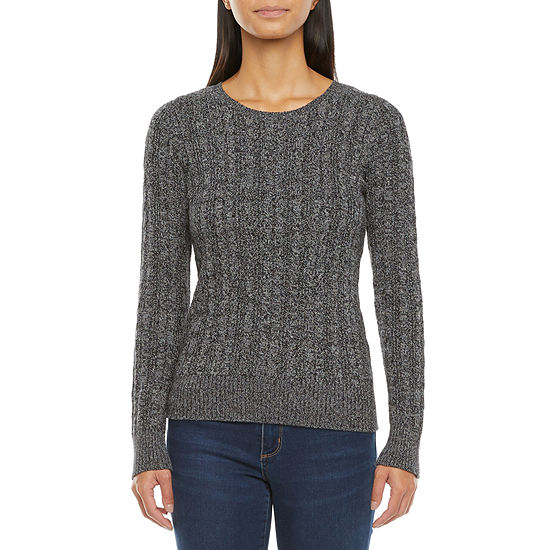 St. John's Bay Womens Cable Crew Neck Long Sleeve Pullover Sweater