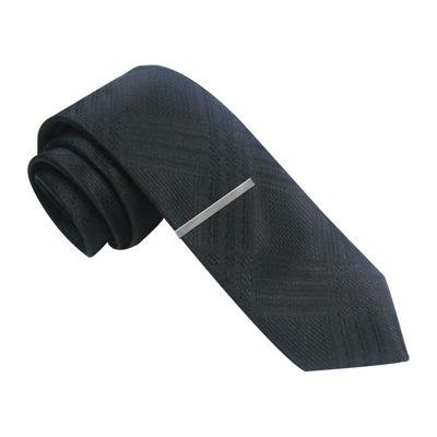 JF J. Ferrar® Textured Plaid Skinny Tie
