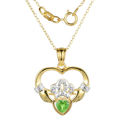 Heart-Shaped Genuine Peridot and Diamond-Accent Claddagh Pendant Necklace