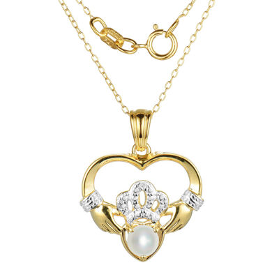 Cultured Freshwater Pearl and Diamond-Accent Claddagh Pendant Necklace