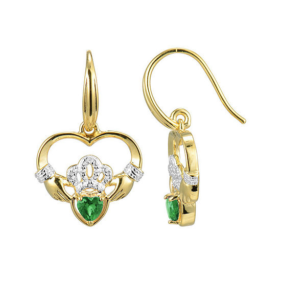 Heart Shaped Genuine Emerald And Diamond Accent Claddagh Earrings