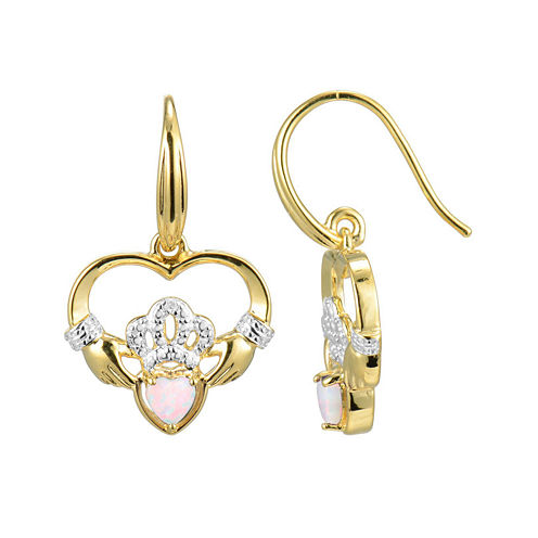 Heart-Shaped Lab-Created Opal and Diamond-Accent Claddagh Earrings