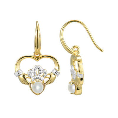 Cultured Freshwater Pearl and Diamond-Accent Claddagh Earrings