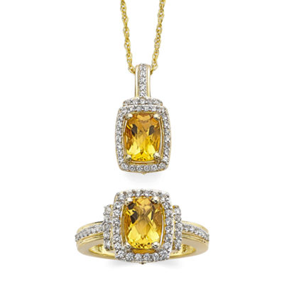 Cushion-Cut Lab-Created Citrine and White Sapphire Pendant Necklace and Ring Set
