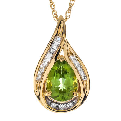 Pear-Shaped Genuine Peridot and Lab-Created White Sapphire Pendant Necklace