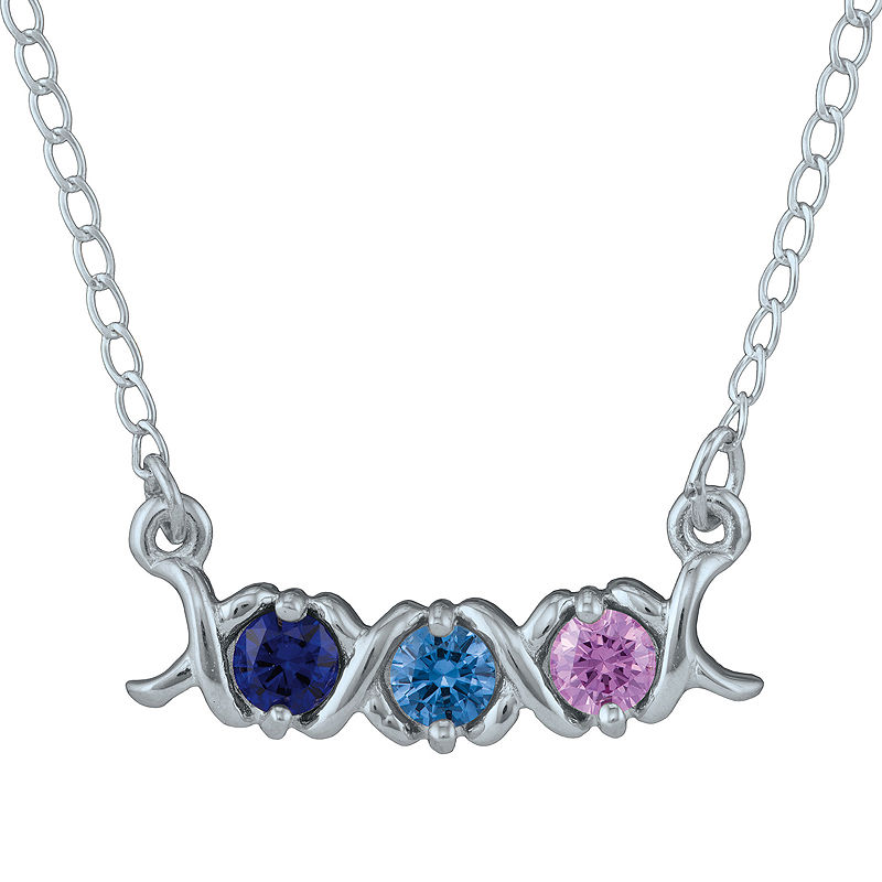 Personalized Xs and Os Birthstone Necklace