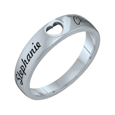 Personalized Couples Names Cutout Heart Band Ring