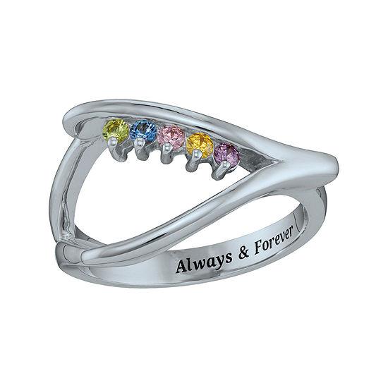 Personalized Birthstone Wishbone Ring