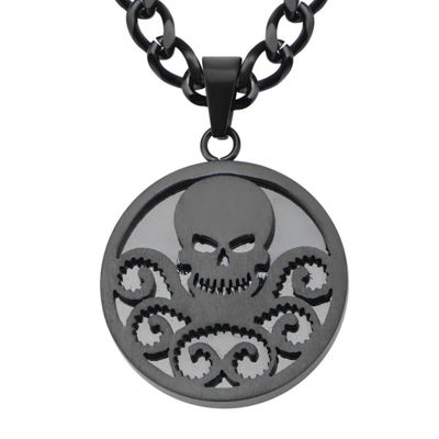 Marvel Hydra Logo Mens Black Ion-Plated Stainless Steel Pendant Necklace
