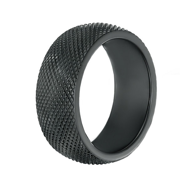 Mens Black Zirconium Textured Wedding Band