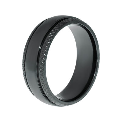 Mens Black Zirconium Wedding Band