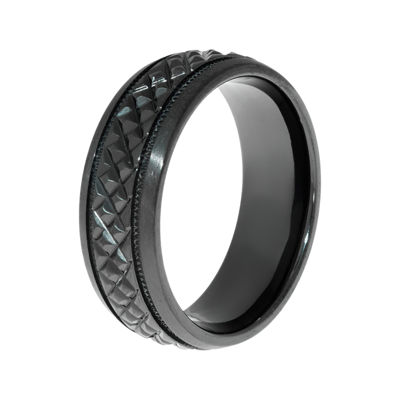 Mens Textured Black Zirconium Wedding Band