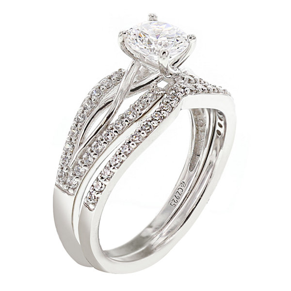 DiamonArt® Cubic Zirconia Sterling Silver Infinity Bridal Ring Set