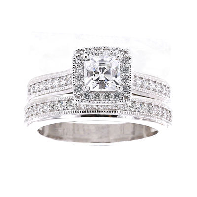DiamonArt® Cubic Zirconia Sterling Silver Asscher-Cut Bridal Ring Set
