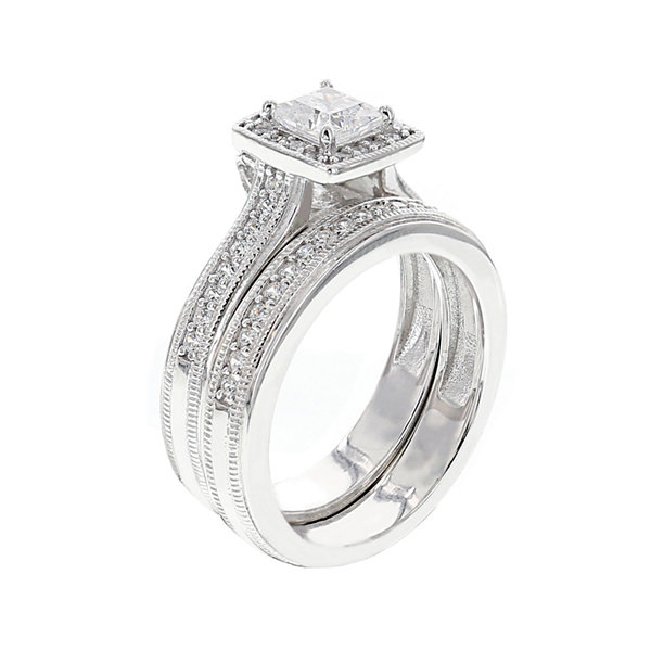 Jcpenney Gift Registry Wedding: DiamonArt® Cubic Zirconia Sterling Silver Asscher-Cut