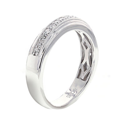 DiamonArt® Mens Cubic Zirconia Sterling Silver Wedding Band