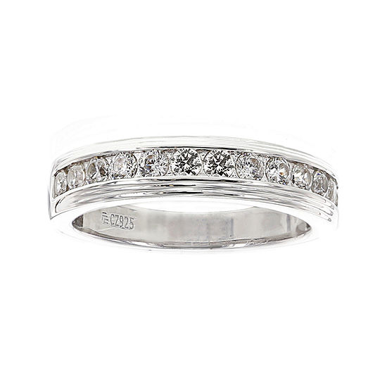 Diamonart Mens Cubic Zirconia Sterling Silver Wedding Band