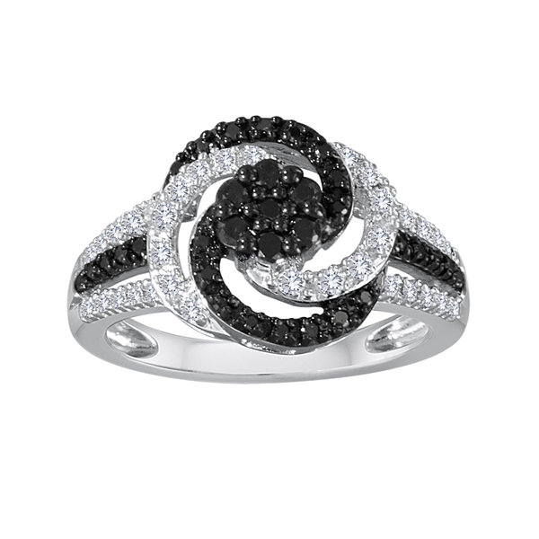 1/2 CT. T.W. White and Color-Enhanced Black Diamond Sterling Silver Swirl Ring