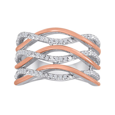1/4 CT. T.W. Diamond Sterling Silver and 10K Rose Gold Crossover Ring