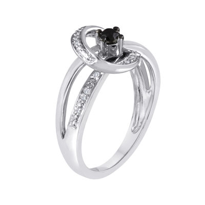 1/4 CT. T.W. White and Color-Enhanced Black Diamond Sterling Silver Ring