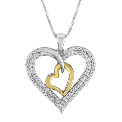 1/5 CT. T.W. Diamond Two-Tone Double Heart Pendant Necklace