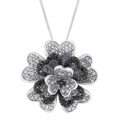 1/3 CT. T.W. White and Color-Enhanced Black Diamond Sterling Silver Flower Pendant Necklace