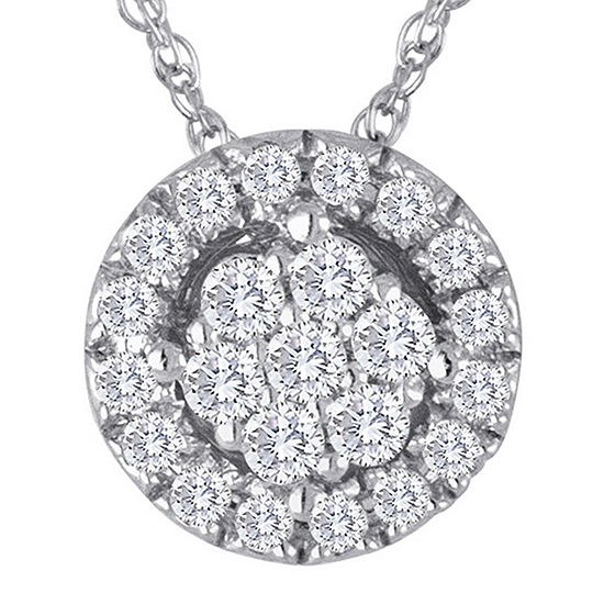 diamond blossom 1/5 CT. T.W. Diamond Cluster Sterling Silver Pendant Necklace