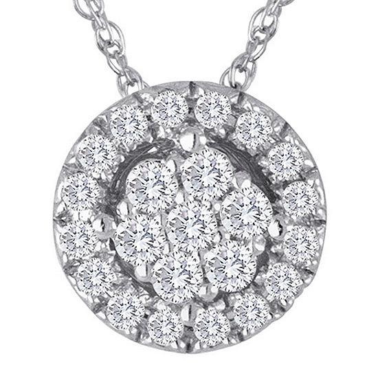 diamond blossom 1/5 CT. T.W. Diamond Cluster Sterling Silver Pendant Necklace