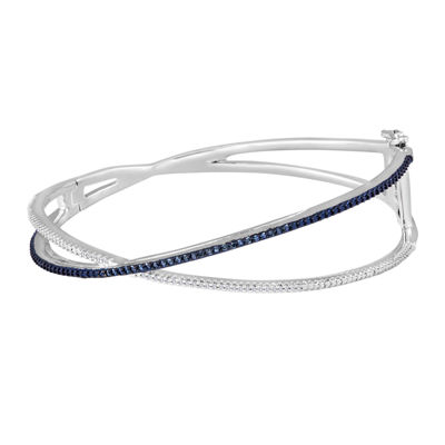 1/10 CT. T.W. White and Color-Enhanced Blue Diamond Crisscross Bangle Bracelet