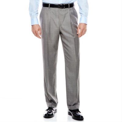 Stafford® Travel Gray Sharkskin Pleated Suit Pants - Classic Fit