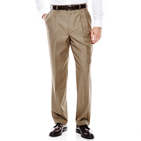 Stafford® Travel Sharkskin Pleated Suit Pants - Classic Fit