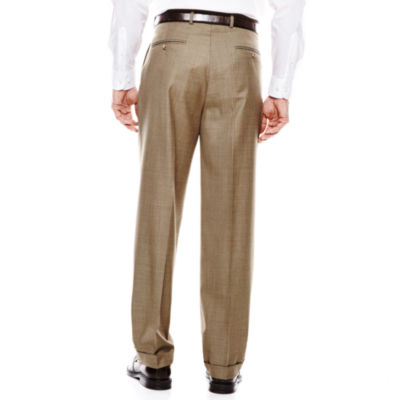 Stafford® Travel Brown Sharkskin Pleated Suit Pants - Classic Fit