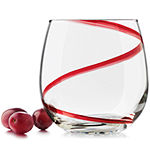 Libbey® Red Swirl Set of 4 Stemless Wine Glasses