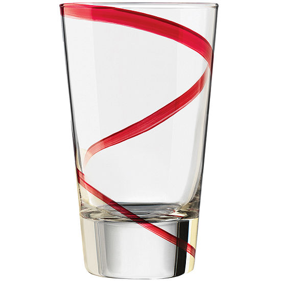 Libbey® Red Swirl Set of 4 Highball Glasses