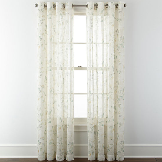 JCPenney Home™ Arbor Leaf Grommet-Top Sheer Panel