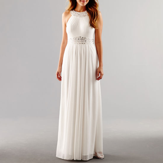 One by Eight Sleeveless Beaded Halter Formal Gown