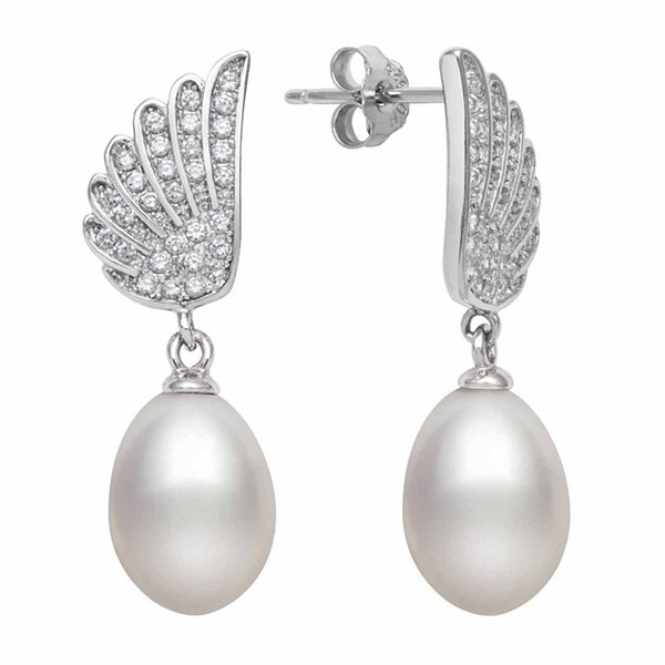 Cultured Freshwater Pearl & Lab Created Cubic Zirconia Sterling Silver Earrings