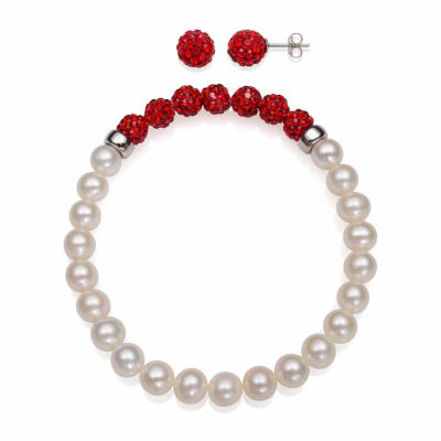 Cultured Freshwater Pearl & Red Lab Created Crystal Bead Sterling Silver Jewelry Set