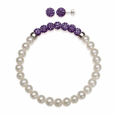 Cultured Freshwater Pearl & Violet Lab Created Crystal Bead Sterling Silver Jewelry Set