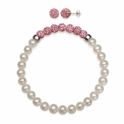 Cultured Freshwater Pearl & Pink Lab Created Crystal Bead Sterling Silver Jewelry Set