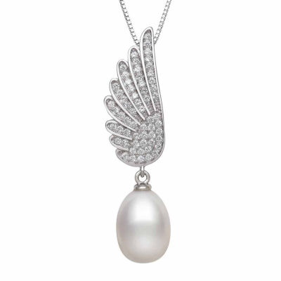 Cultured Freshwater Pearl & Lab Created Cubic Zirconia Sterling Silver Pendant Necklace