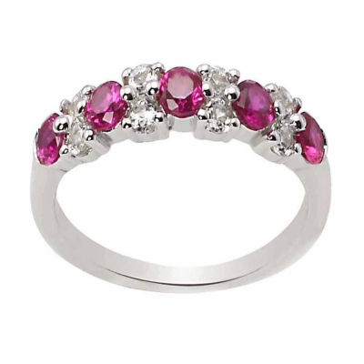 Sterling Silver Lab Created Ruby & Lab Created White Sapphire Ring