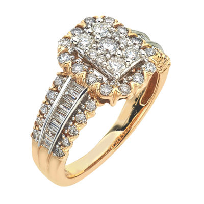 Diamond Blossom Womens 1 CT. T.W. Genuine White Diamond 14K Gold Engagement Ring