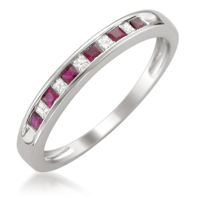 Womens 1/10 CT. T.W. Red Lead Glass-Filled Ruby 14K Gold Wedding Band