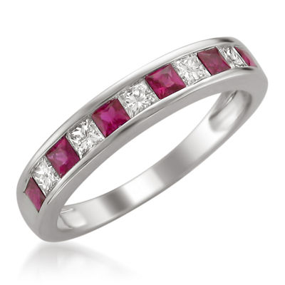 Womens 1/4 CT. T.W. Red Lead Glass-Filled Ruby 14K Gold Wedding Band