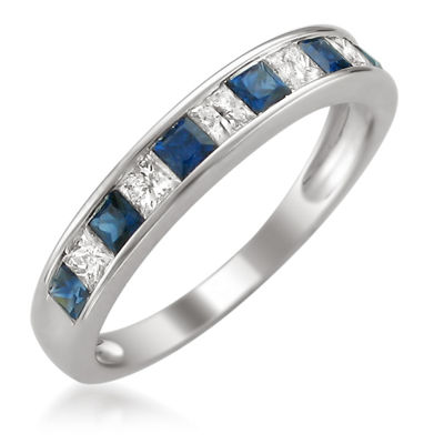 Modern Bride Gemstone Womens 3 Mm 1/4 CT. T.W. Blue Sapphire 14K Gold Wedding Band