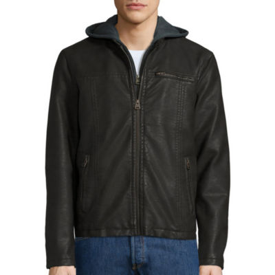 Levi's® Faux Leather Racer Jacket with Hood